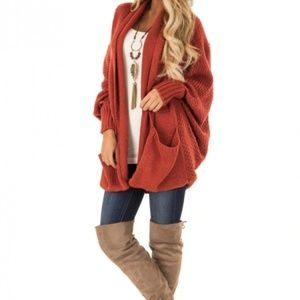 Sweaters - JUST IN Orange Patch Pockets Batwing Sleeve Cardi